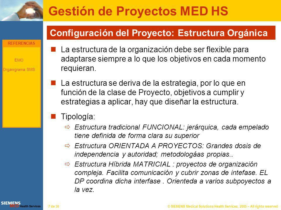 © SIEMENS Medical Solutions Health Services, 2005 – All rights reserved7 de 36 Gestión de Proyectos MED HS Configuración del Proyecto: Estructura Orgá