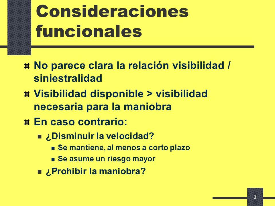 2 Visibilidad Indicadores visuales: Perspectiva de la vía y sus márgenes: el principal Información: Señalización Balizamiento Publicidad: adverso Ento