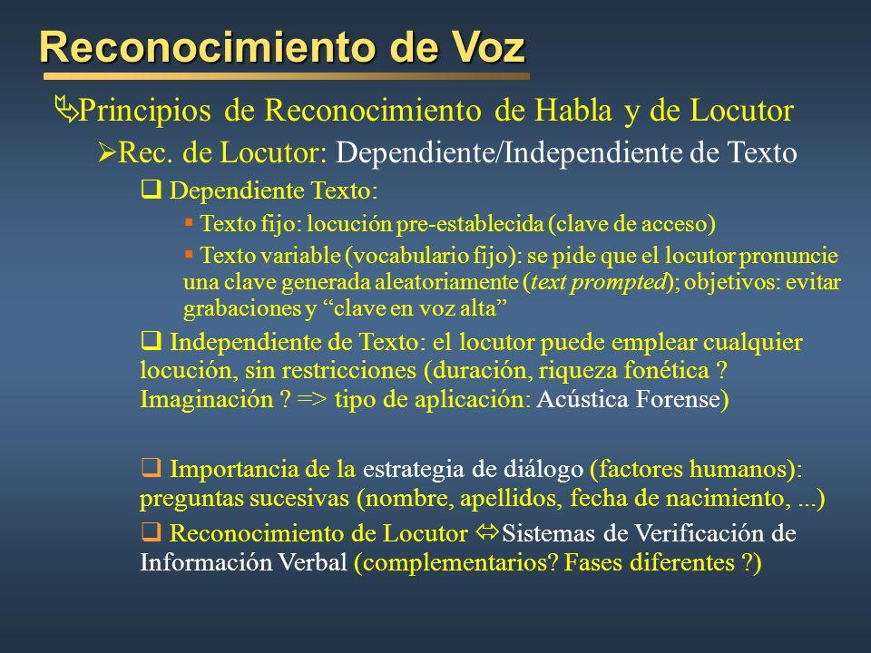 Reconocimiento de Voz Principios de Reconocimiento de Habla y de Locutor Rec. de Locutor: Dependiente/Independiente de Texto Dependiente Texto: Texto