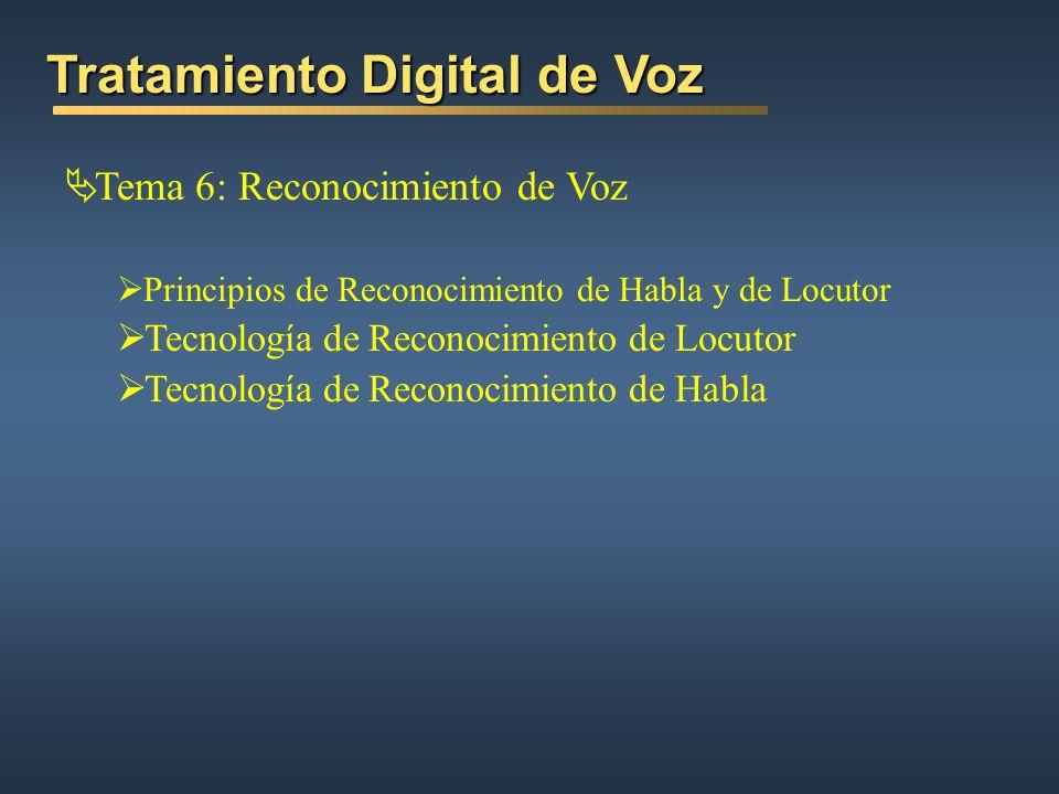 Tema 6: Reconocimiento de Voz Principios de Reconocimiento de Habla y de Locutor Tecnología de Reconocimiento de Locutor Tecnología de Reconocimiento