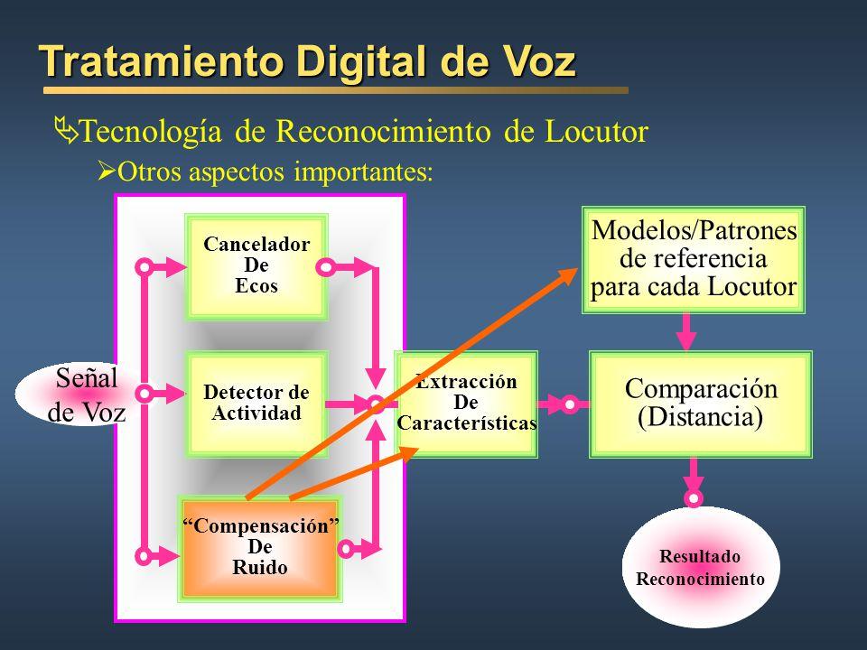 Tecnología de Reconocimiento de Locutor Otros aspectos importantes: Tratamiento Digital de Voz Resultado Reconocimiento Señal de Voz Extracción De Car