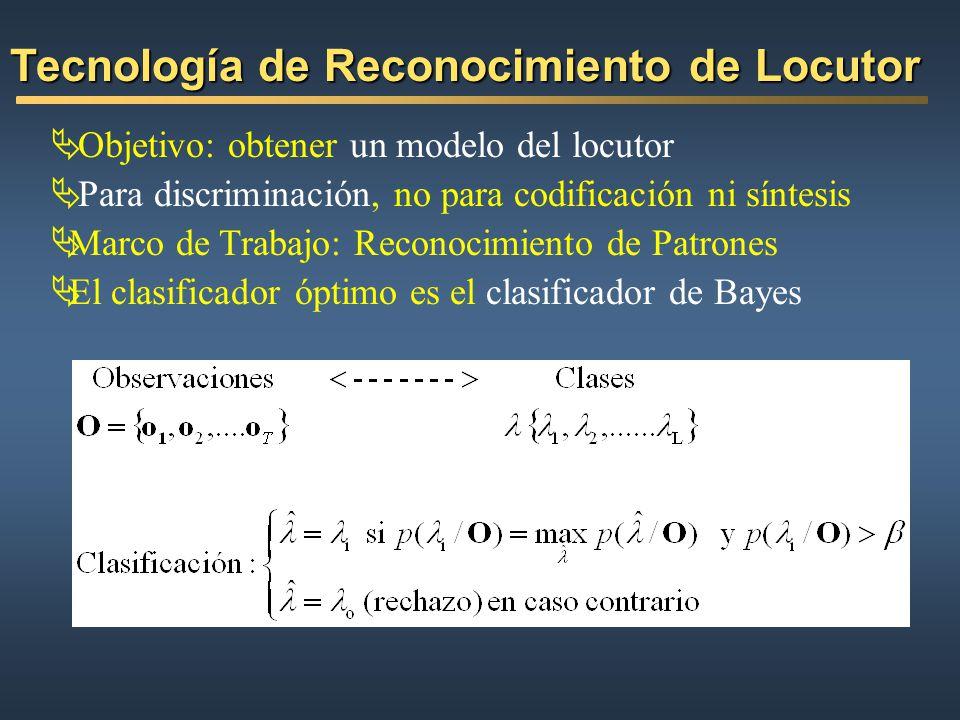 Objetivo: obtener un modelo del locutor Para discriminación, no para codificación ni síntesis Marco de Trabajo: Reconocimiento de Patrones El clasific