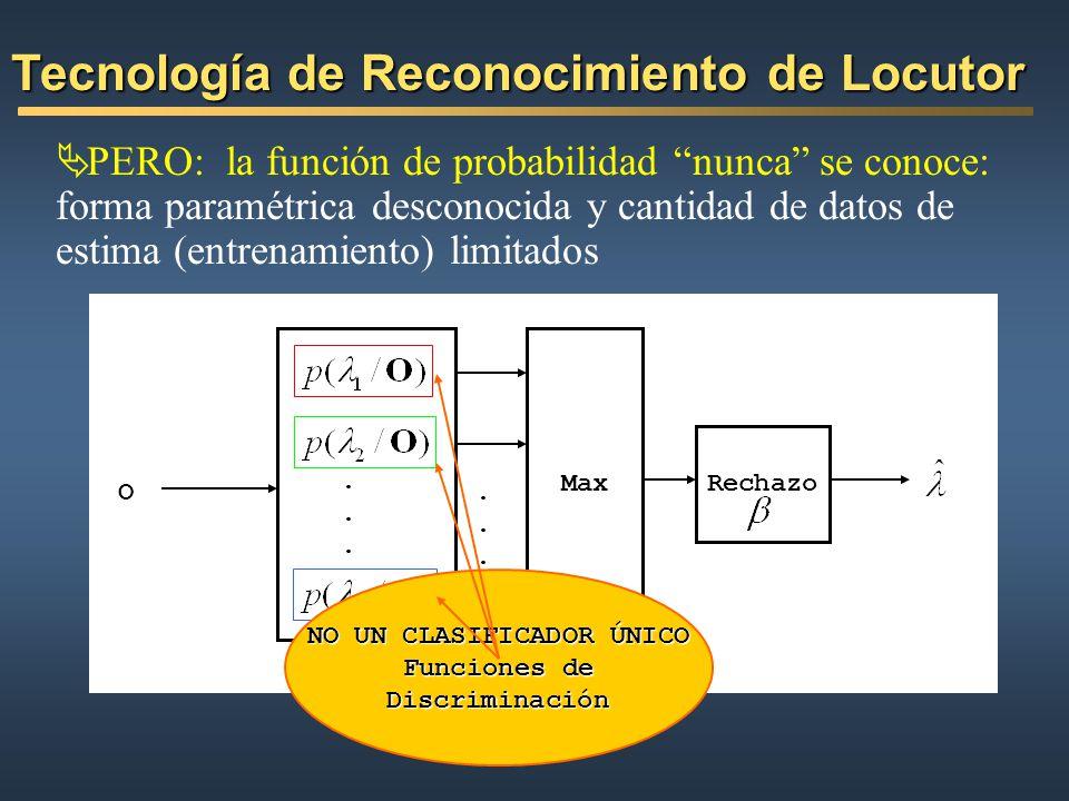PERO: la función de probabilidad nunca se conoce: forma paramétrica desconocida y cantidad de datos de estima (entrenamiento) limitados Tecnología de