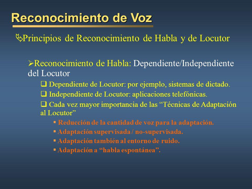 Reconocimiento de Voz Principios de Reconocimiento de Habla y de Locutor Reconocimiento de Habla: Dependiente/Independiente del Locutor Dependiente de