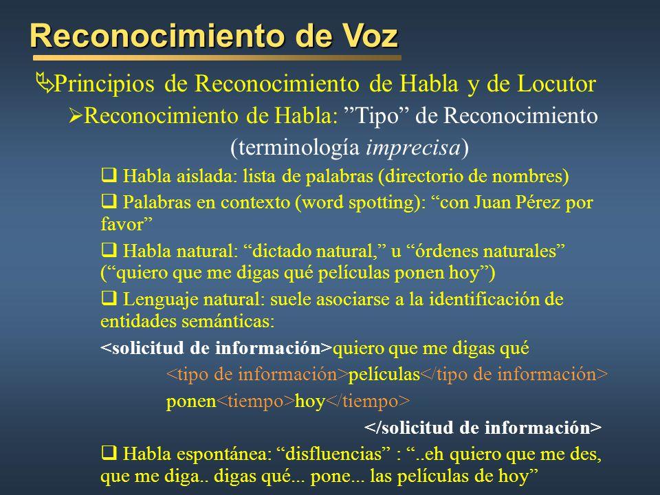 Reconocimiento de Voz Principios de Reconocimiento de Habla y de Locutor Reconocimiento de Habla: Tipo de Reconocimiento (terminología imprecisa) Habl