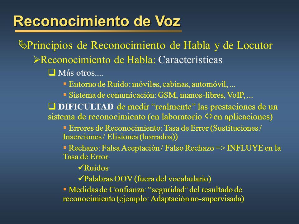 Reconocimiento de Voz Principios de Reconocimiento de Habla y de Locutor Reconocimiento de Habla: Características Más otros.... Entorno de Ruido: móvi