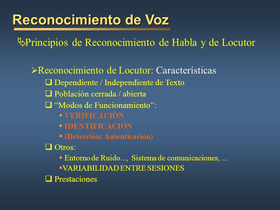 Reconocimiento de Voz Principios de Reconocimiento de Habla y de Locutor Reconocimiento de Locutor: Características Dependiente / Independiente de Tex
