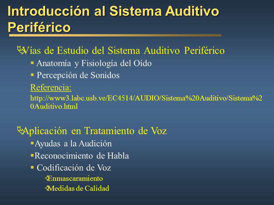 Introducción al Sistema Auditivo Periférico Vías de Estudio del Sistema Auditivo Periférico Anatomía y Fisiología del Oído Percepción de Sonidos Referencia: http://www3.labc.usb.ve/EC4514/AUDIO/Sistema%20Auditivo/Sistema%2 0Auditivo.html Aplicación en Tratamiento de Voz Ayudas a la Audición Reconocimiento de Habla Codificación de Voz Enmascaramiento Medidas de Calidad