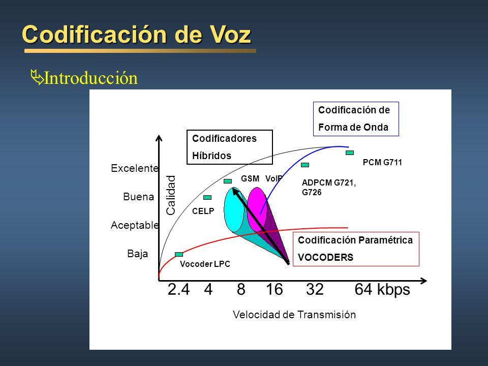 Codificación de Voz Introducción Calidad Excelente Buena Aceptable Baja 48163264 kbps GSM ADPCM G721, G726 CELP 2.4 PCM G711 Codificación Paramétrica VOCODERS Codificación de Forma de Onda Codificadores Híbridos Velocidad de Transmisión Vocoder LPC VoIP