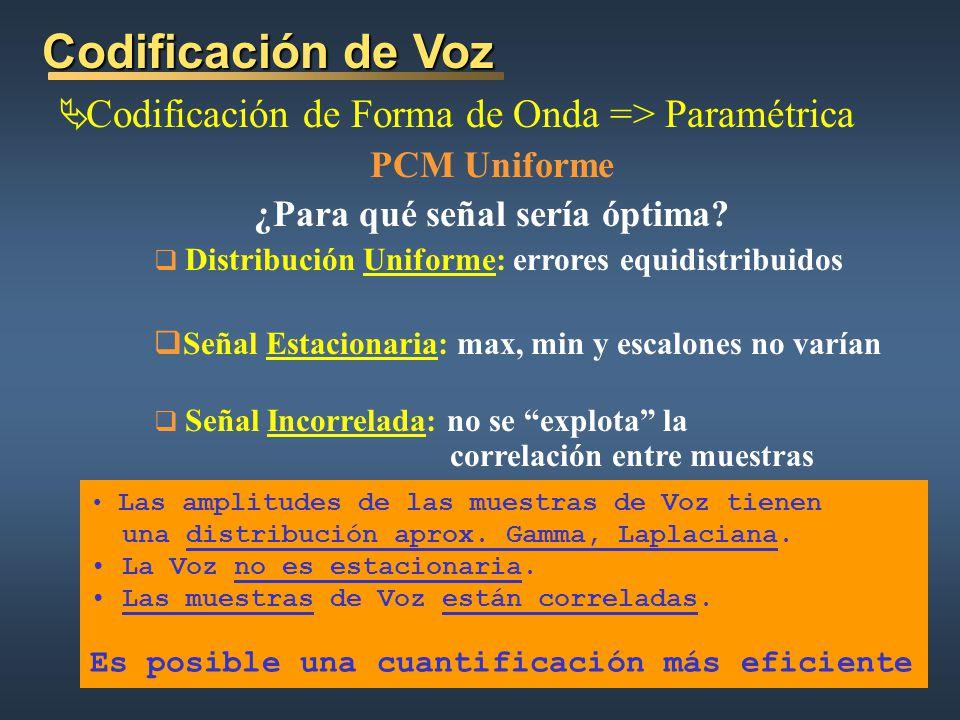 Codificación de Voz Codificación de Forma de Onda => Paramétrica PCM Uniforme ¿Para qué señal sería óptima.