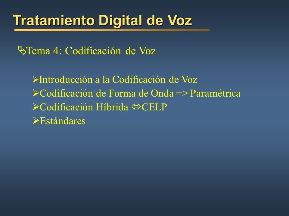 Tema 4: Codificación de Voz Introducción a la Codificación de Voz Codificación de Forma de Onda => Paramétrica Codificación Híbrida CELP Estándares Tratamiento Digital de Voz