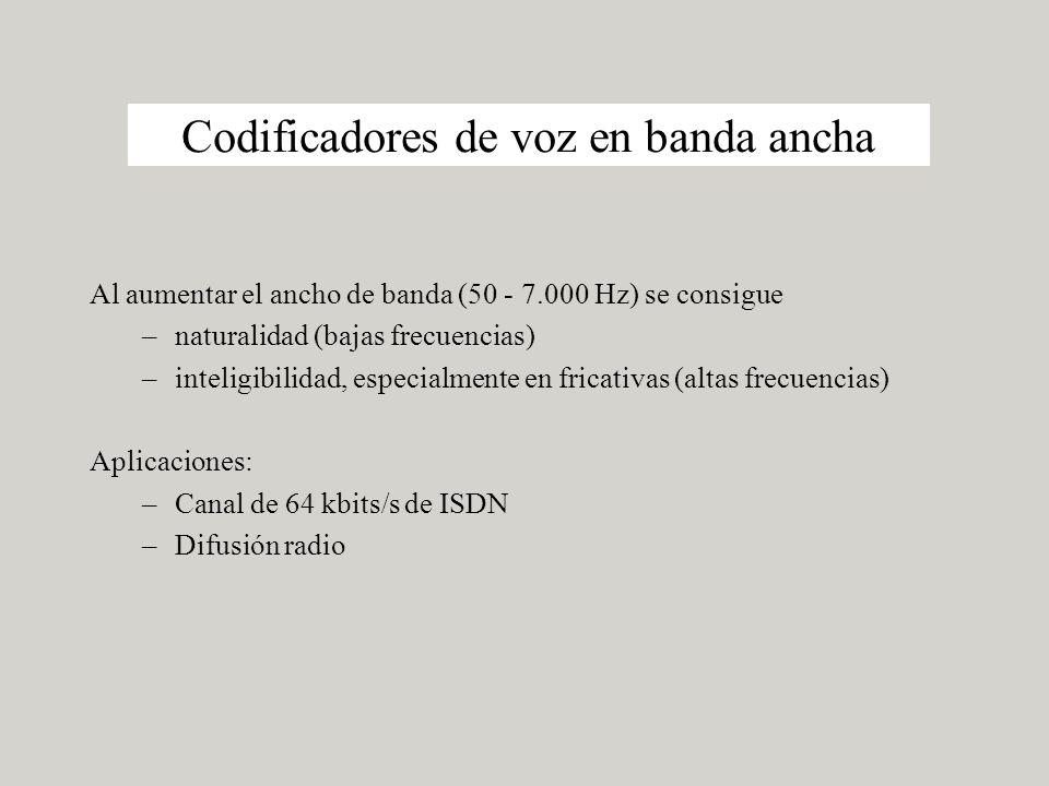 Codificadores de voz en banda ancha Al aumentar el ancho de banda (50 - 7.000 Hz) se consigue –naturalidad (bajas frecuencias) –inteligibilidad, especialmente en fricativas (altas frecuencias) Aplicaciones: –Canal de 64 kbits/s de ISDN –Difusión radio