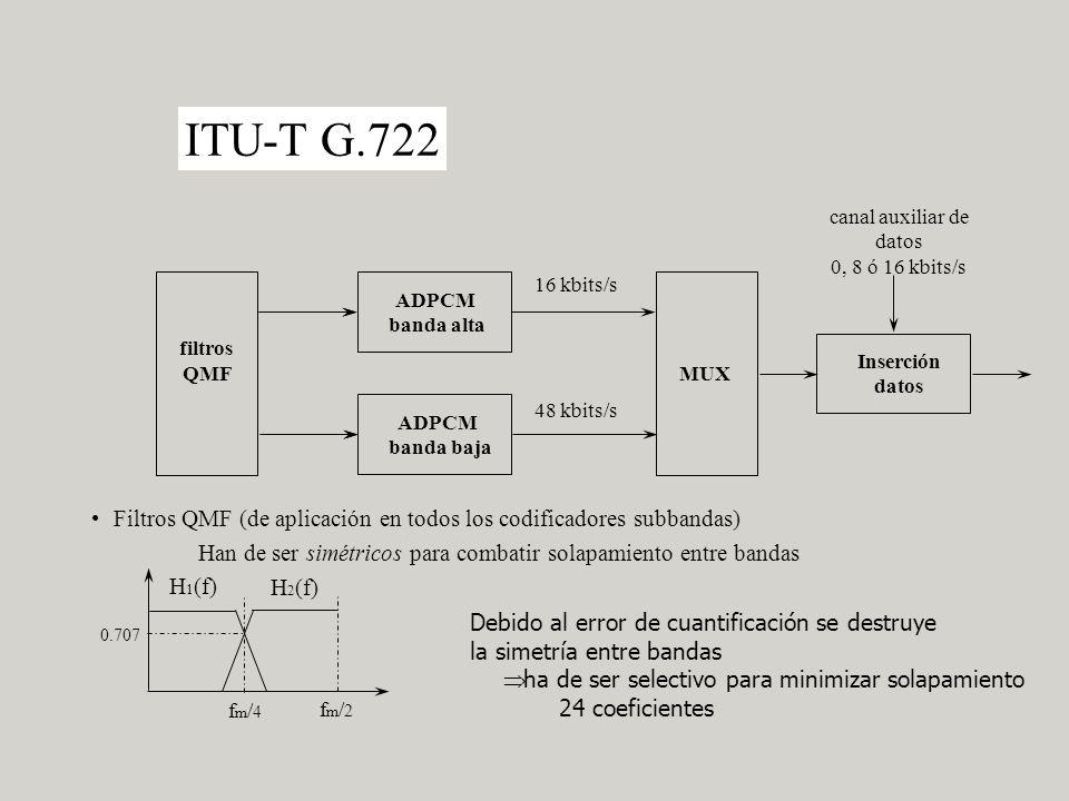 ITU-T G.722 canal auxiliar de datos 0, 8 ó 16 kbits/s ADPCM banda alta ADPCM banda baja filtros QMFMUX Inserción datos 16 kbits/s 48 kbits/s Filtros QMF (de aplicación en todos los codificadores subbandas) Han de ser simétricos para combatir solapamiento entre bandas H 1 (f) H 2 (f) fm/4fm/4 fm/2fm/2 0.707 Debido al error de cuantificación se destruye la simetría entre bandas ha de ser selectivo para minimizar solapamiento 24 coeficientes