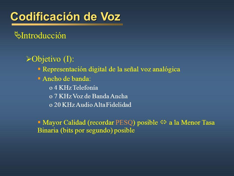 Codificación de Voz Introducción Objetivo (I): Representación digital de la señal voz analógica Ancho de banda: o 4 KHz Telefonía o 7 KHz Voz de Banda Ancha o 20 KHz Audio Alta Fidelidad Mayor Calidad (recordar PESQ) posible a la Menor Tasa Binaria (bits por segundo) posible