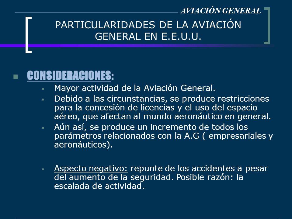 PARTICULARIDADES DE LA AVIACIÓN GENERAL EN E.E.U.U. CONSIDERACIONES: Mayor actividad de la Aviación General. Debido a las circunstancias, se produce r