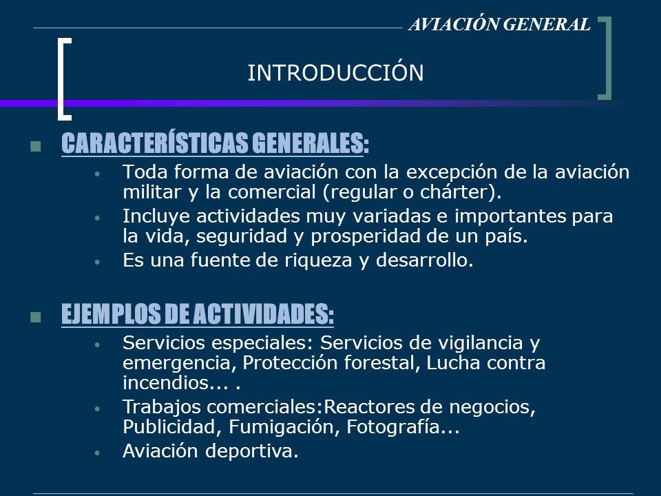 INTRODUCCIÓN CARACTERÍSTICAS GENERALES: Toda forma de aviación con la excepción de la aviación militar y la comercial (regular o chárter). Incluye act