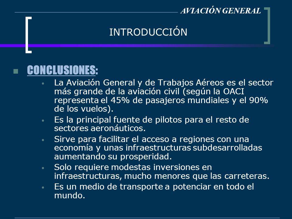 INTRODUCCIÓN CONCLUSIONES: La Aviación General y de Trabajos Aéreos es el sector más grande de la aviación civil (según la OACI representa el 45% de p