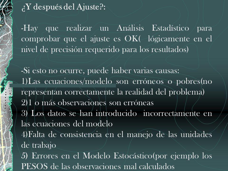 ¿Y después del Ajuste?: -Hay que realizar un Análisis Estadístico para comprobar que el ajuste es OK( lógicamente en el nivel de precisión requerido p