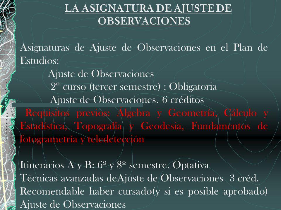 LA ASIGNATURA DE AJUSTE DE OBSERVACIONES Asignaturas de Ajuste de Observaciones en el Plan de Estudios: Ajuste de Observaciones 2º curso (tercer semes