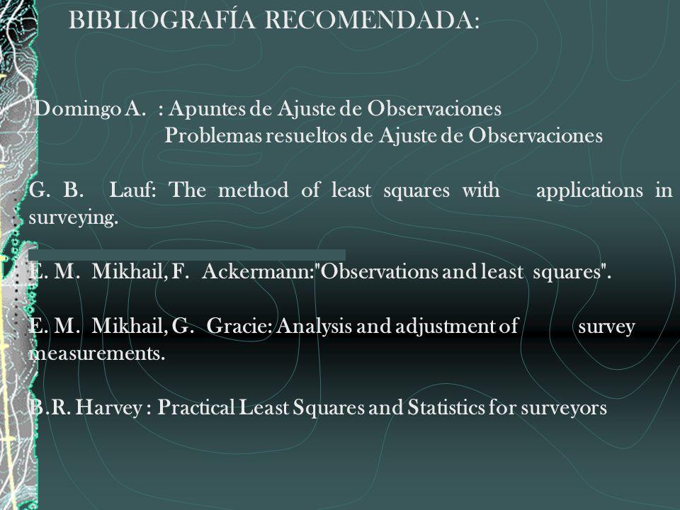 BIBLIOGRAFÍA RECOMENDADA: Domingo A. : Apuntes de Ajuste de Observaciones Problemas resueltos de Ajuste de Observaciones G. B. Lauf: The method of lea