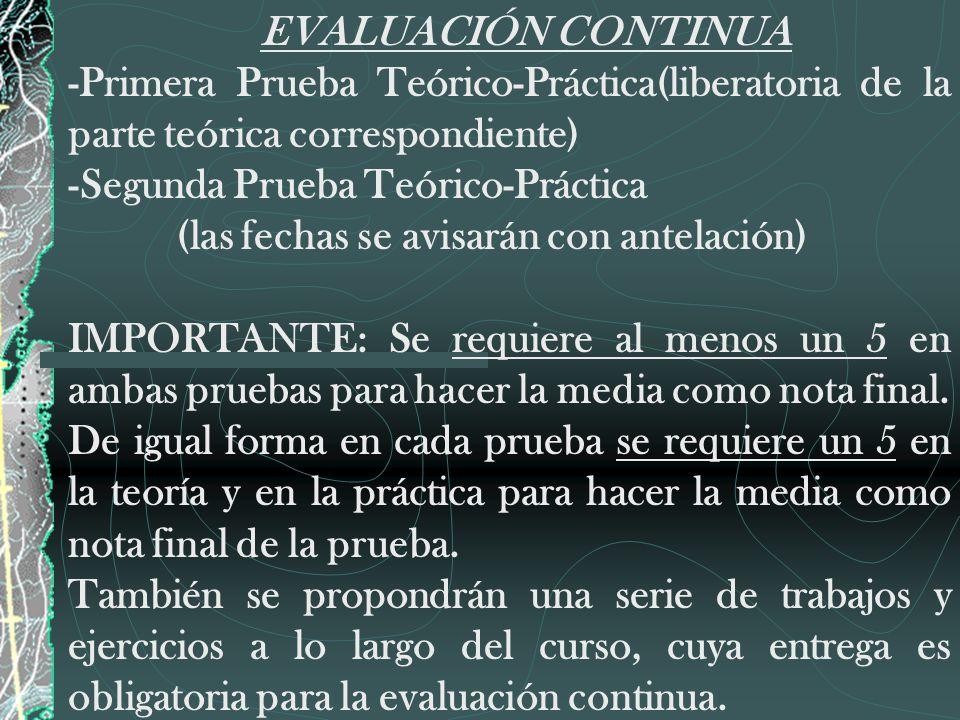 EVALUACIÓN CONTINUA -Primera Prueba Teórico-Práctica(liberatoria de la parte teórica correspondiente) -Segunda Prueba Teórico-Práctica (las fechas se