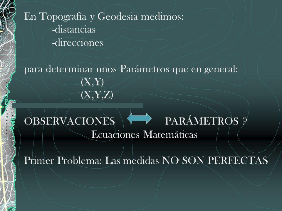 En Topografía y Geodesia medimos: -distancias -direcciones para determinar unos Parámetros que en general: (X,Y) (X,Y,Z) OBSERVACIONES PARÁMETROS ? Ec