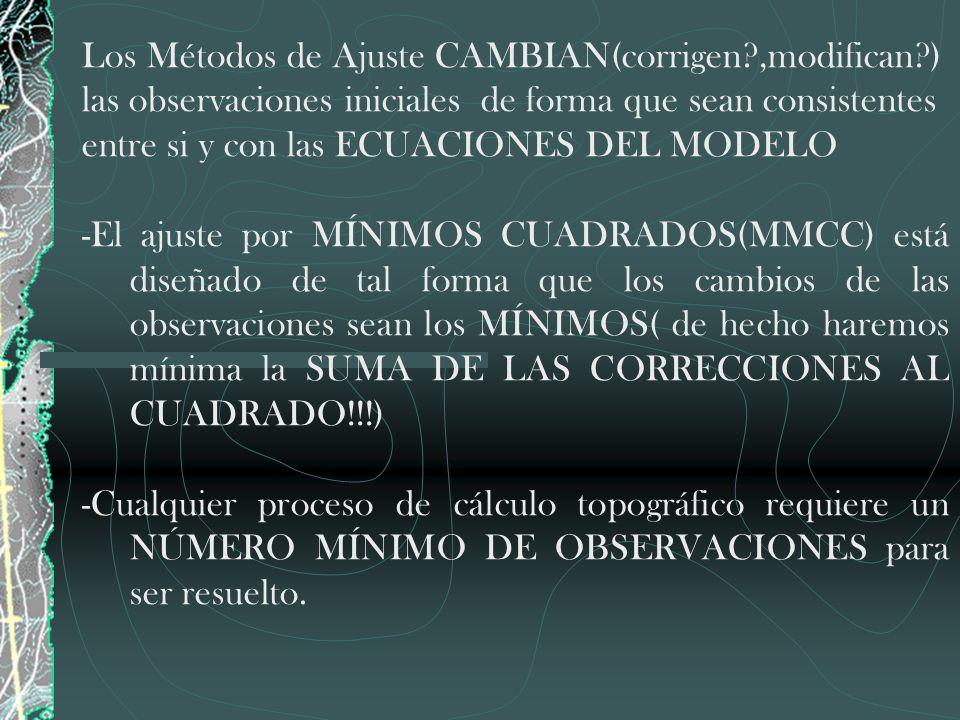 Los Métodos de Ajuste CAMBIAN(corrigen?,modifican?) las observaciones iniciales de forma que sean consistentes entre si y con las ECUACIONES DEL MODEL
