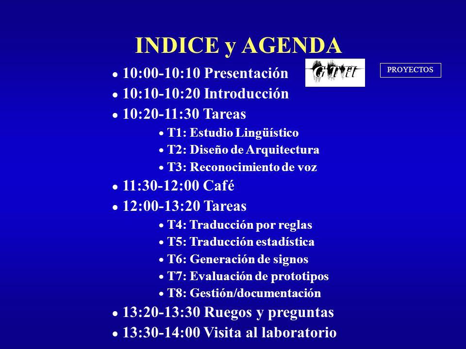 INDICE y AGENDA 10:00-10:10 Presentación 10:10-10:20 Introducción 10:20-11:30 Tareas T1: Estudio Lingüístico T2: Diseño de Arquitectura T3: Reconocimi