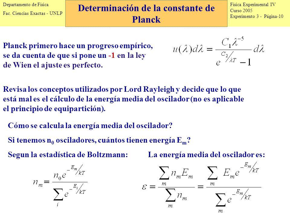Física Experimental IV Curso 2005 Experimento 3 - Página-10 Departamento de Física Fac.