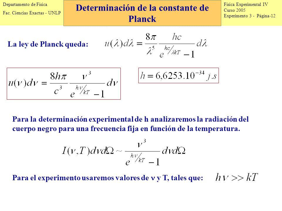 Física Experimental IV Curso 2005 Experimento 3 - Página-12 Departamento de Física Fac.