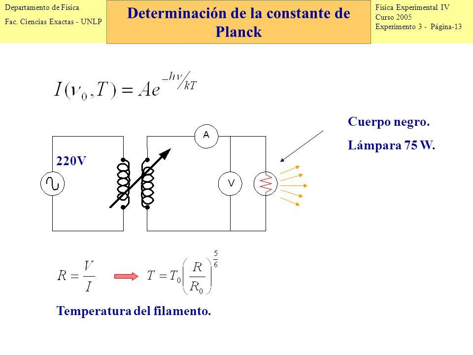 Física Experimental IV Curso 2005 Experimento 3 - Página-13 Departamento de Física Fac.