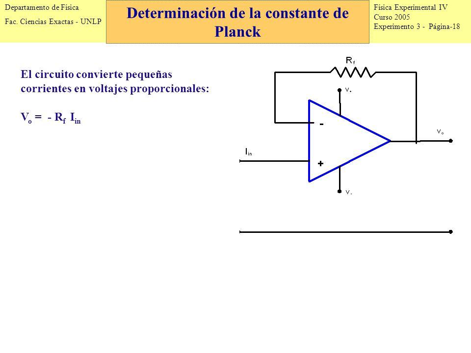 Física Experimental IV Curso 2005 Experimento 3 - Página-18 Departamento de Física Fac.