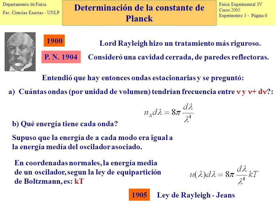 Física Experimental IV Curso 2005 Experimento 3 - Página-8 Departamento de Física Fac.