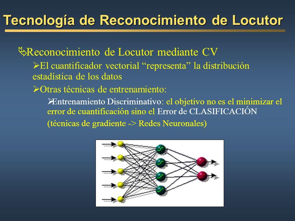Reconocimiento de Locutor mediante CV El cuantificador vectorial representa la distribución estadística de los datos Otras técnicas de entrenamiento: