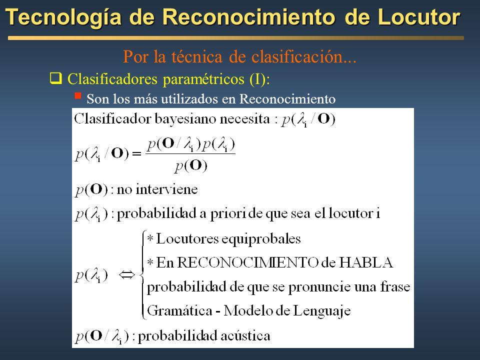 Por la técnica de clasificación... Clasificadores paramétricos (I): Son los más utilizados en Reconocimiento Tecnología de Reconocimiento de Locutor