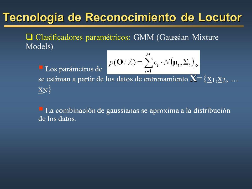 Clasificadores paramétricos: GMM (Gaussian Mixture Models) X Los parámetros de se estiman a partir de los datos de entrenamiento X={x 1,x 2,... x N }