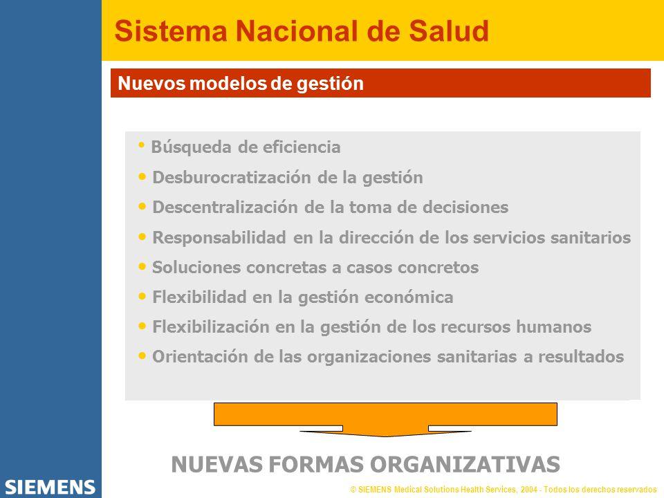 © SIEMENS Medical Solutions Health Services, 2004 - Todos los derechos reservados Sistema Nacional de Salud Nuevos modelos de gestión NUEVAS FORMAS OR