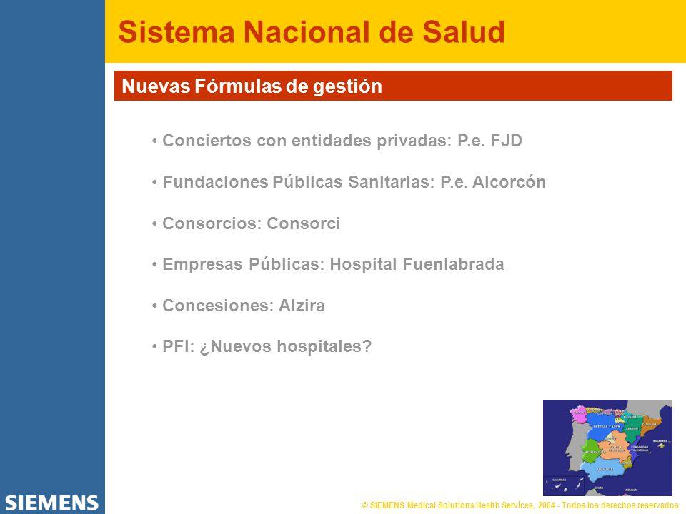 © SIEMENS Medical Solutions Health Services, 2004 - Todos los derechos reservados Sistema Nacional de Salud Nuevas Fórmulas de gestión Conciertos con entidades privadas: P.e.