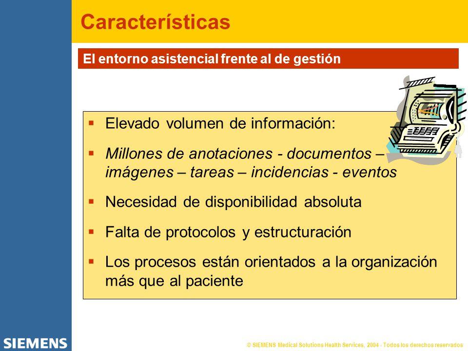 Elevado volumen de información: Millones de anotaciones - documentos – imágenes – tareas – incidencias - eventos Necesidad de disponibilidad absoluta