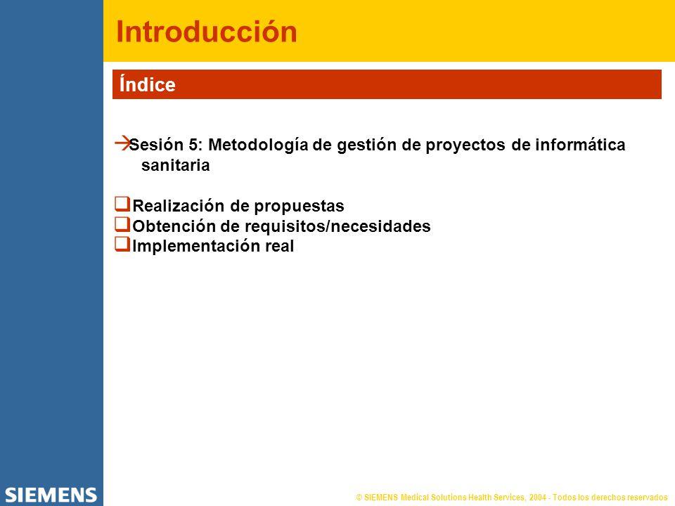 © SIEMENS Medical Solutions Health Services, 2004 - Todos los derechos reservados Introducción Índice Sesión 5: Metodología de gestión de proyectos de