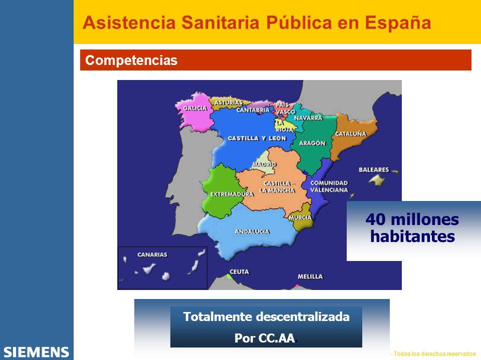 © SIEMENS Medical Solutions Health Services, 2004 - Todos los derechos reservados Asistencia Sanitaria Pública en España Competencias 40 millones habitantes Totalmente descentralizada Por CC.AA.