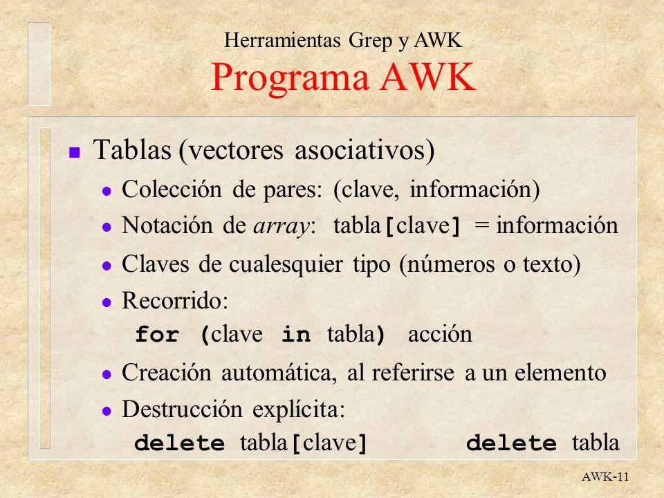 Herramientas Grep y AWK AWK-11 Programa AWK n Tablas (vectores asociativos) l Colección de pares:(clave, información) Notación de array:tabla [ clave