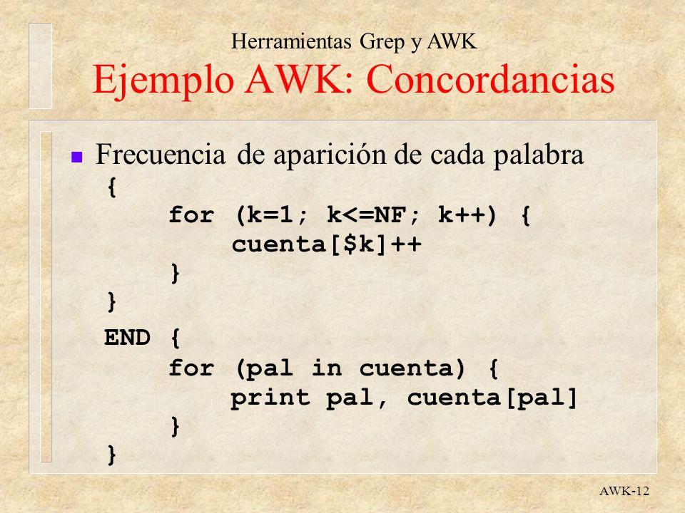 Herramientas Grep y AWK AWK-12 Ejemplo AWK: Concordancias n Frecuencia de aparición de cada palabra { for (k=1; k<=NF; k++) { cuenta[$k]++ } END { for