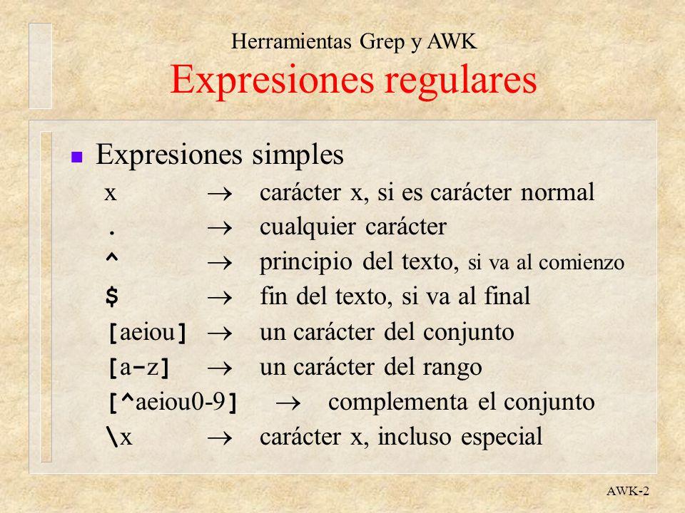 Herramientas Grep y AWK AWK-2 Expresiones regulares n Expresiones simples x carácter x, si es carácter normal. cualquier carácter ^ principio del text