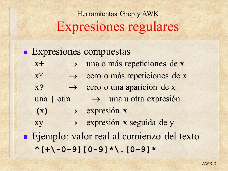 Herramientas Grep y AWK AWK-3 Expresiones regulares n Expresiones compuestas x + una o más repeticiones de x x* cero o más repeticiones de x x ? cero