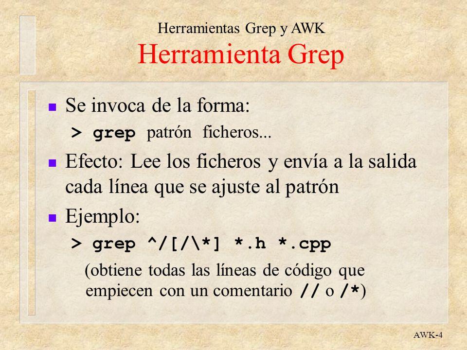 Herramientas Grep y AWK AWK-4 Herramienta Grep n Se invoca de la forma: > grep patrón ficheros... n Efecto: Lee los ficheros y envía a la salida cada