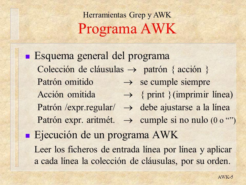 Herramientas Grep y AWK AWK-6 Programa AWK n Patrones especiales BEGIN se cumple antes de leer la entrada END se cumple al final de todo el proceso x, y lo cumple un rango de líneas n Código de las acciones l Las acciones se escriben como en lenguaje C l No hay que declarar las variables (se crean al usarlas, con valores nulos) l Valores numéricos o de texto, indistintamente.