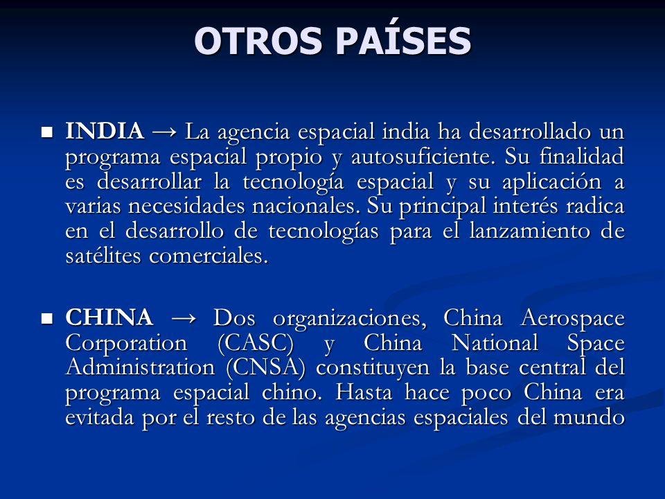 OTROS PAÍSES INDIA La agencia espacial india ha desarrollado un programa espacial propio y autosuficiente. Su finalidad es desarrollar la tecnología e