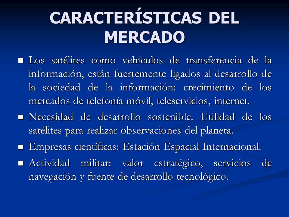 CARACTERÍSTICAS DEL MERCADO Los satélites como vehículos de transferencia de la información, están fuertemente ligados al desarrollo de la sociedad de