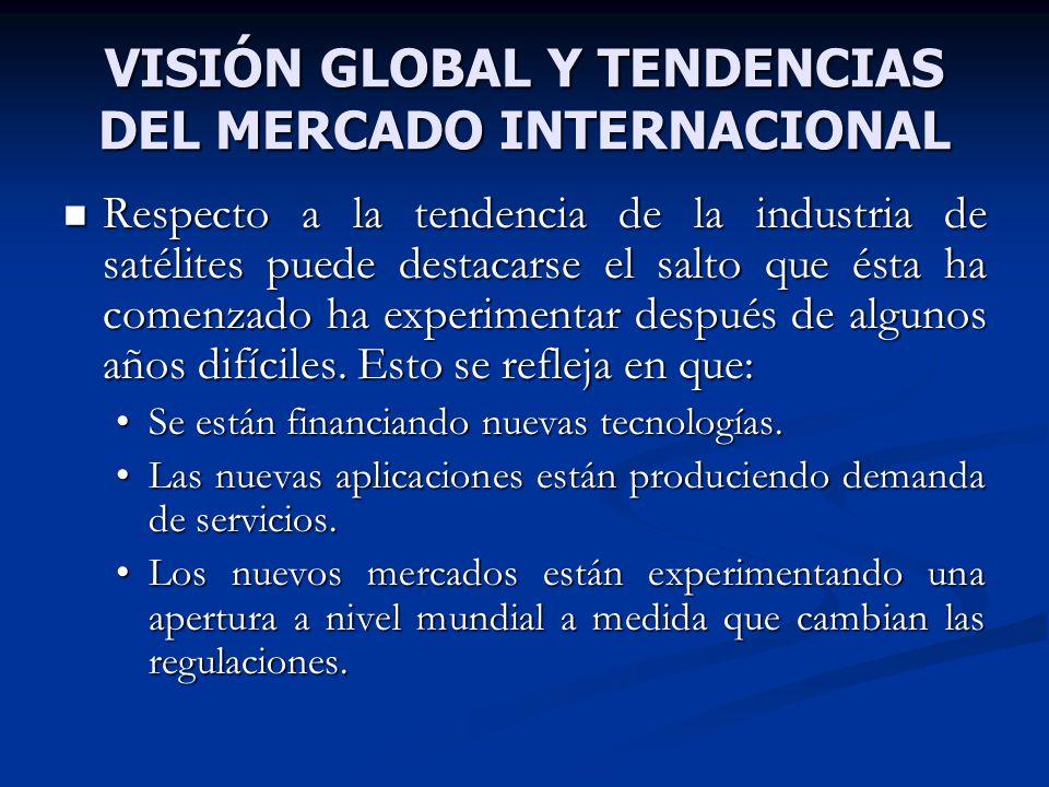 VISIÓN GLOBAL Y TENDENCIAS DEL MERCADO INTERNACIONAL Respecto a la tendencia de la industria de satélites puede destacarse el salto que ésta ha comenz